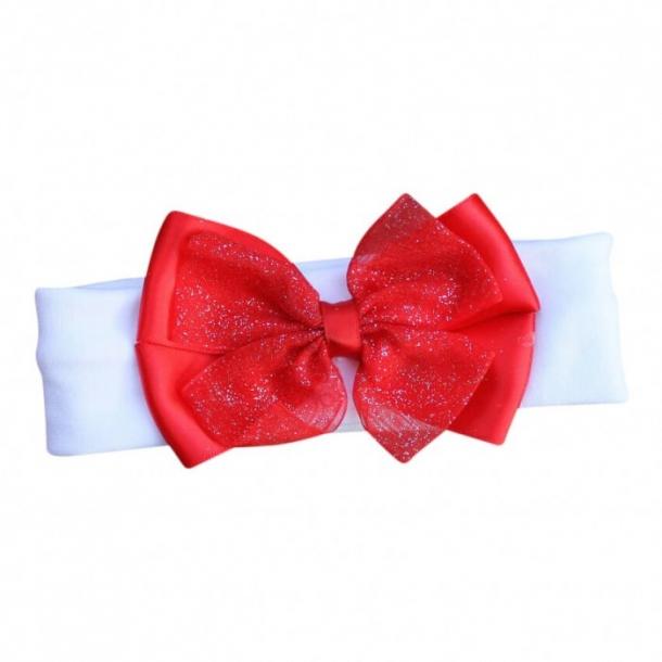 Hårbånd med rød sløjfe med glimmer