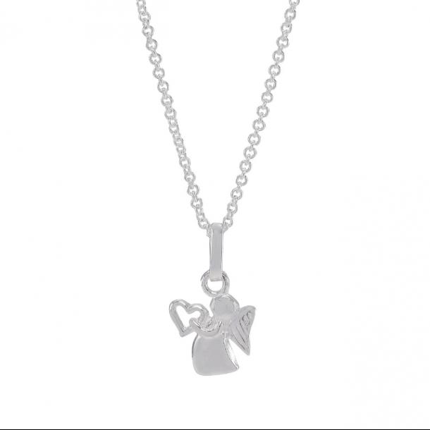 Halskæde i sølv med sølvvedhæng skytsengel