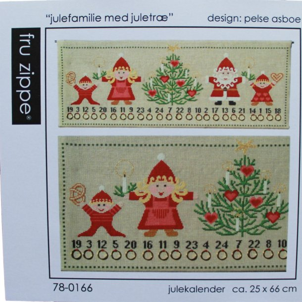 Broderikit - Julekalender - Julefamilie med juletræ