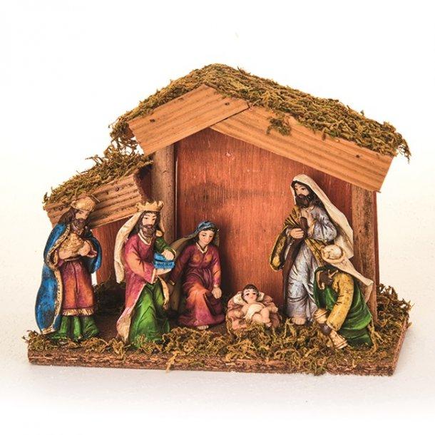 Julekrybbe i træ med figurer