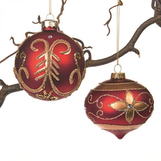 Julekugler i glas - Røde - 2 stk.