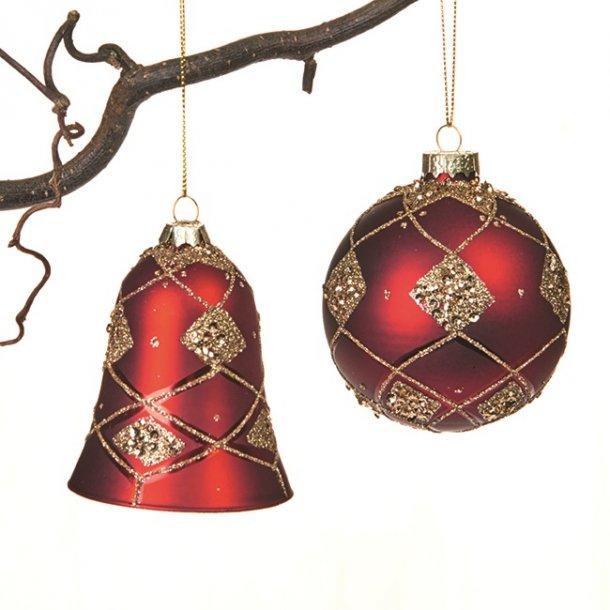 Julekugle og klokke i glas - Røde - 2 stk.