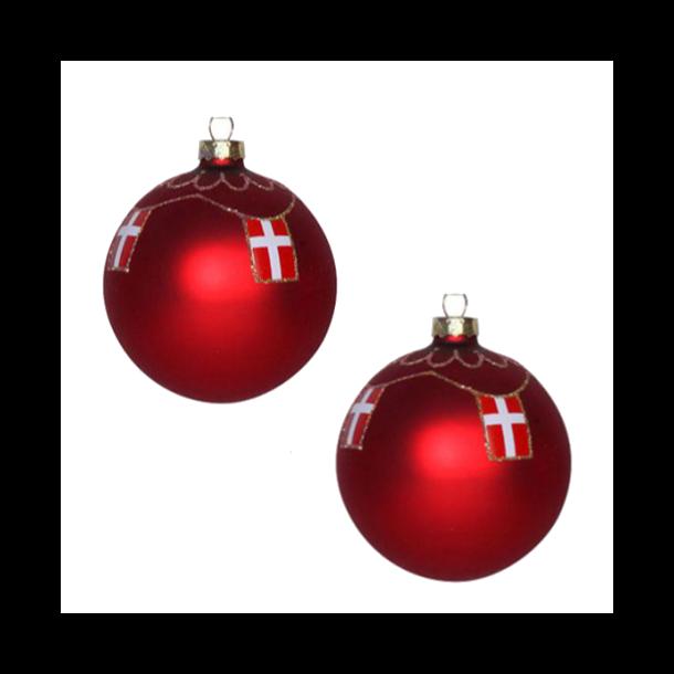 Røde julekugler med Dannebrog 2 stk.