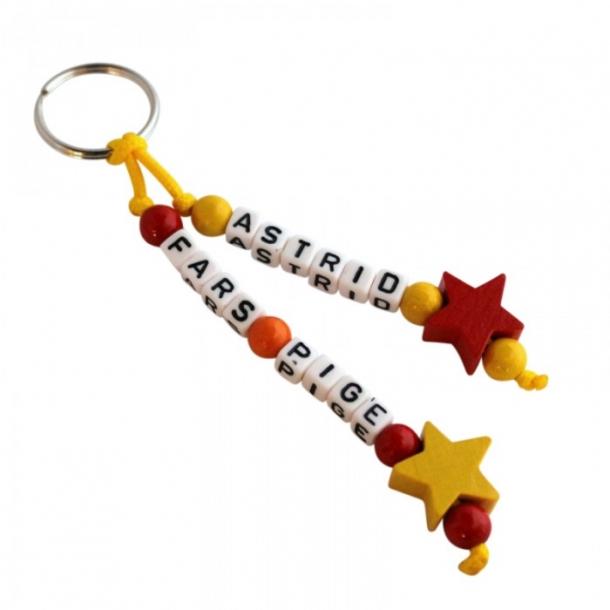 Nøglering med navn - Stjerner gul