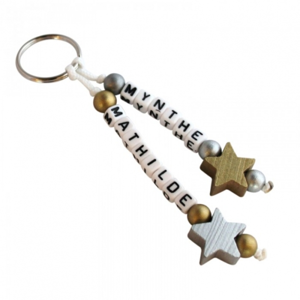 Nøglering med navn - Stjerner guld