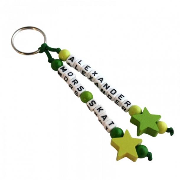 Nøglering med navn - Stjerner grøn