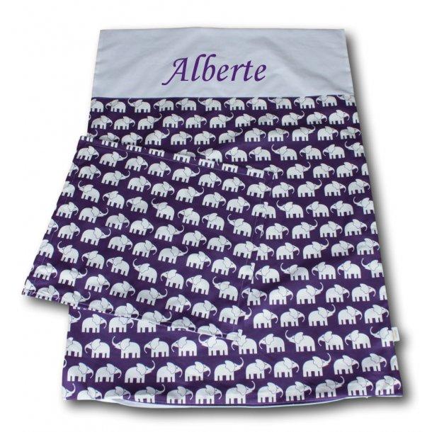 Juniorsengetøj - Elefanter lilla