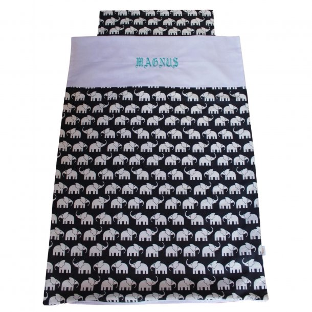 Juniorsengetøj - Elefanter sort/hvid