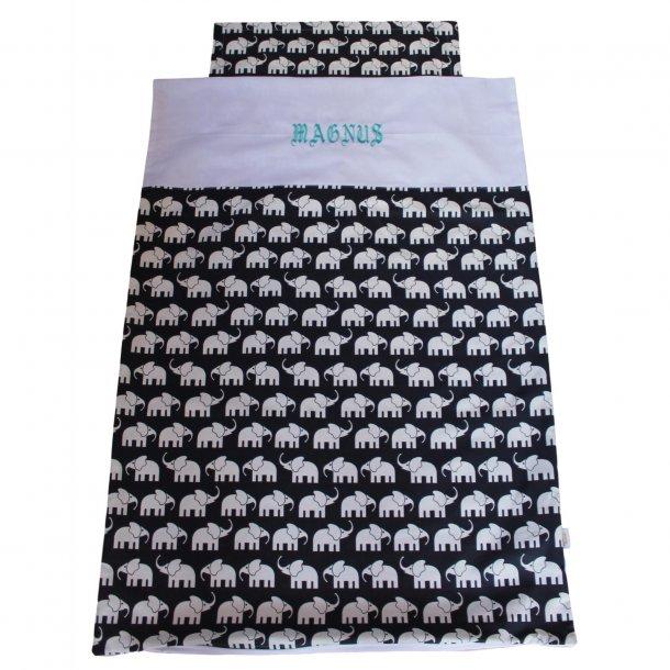 Babysengetøj - Sort/hvid med elefanter