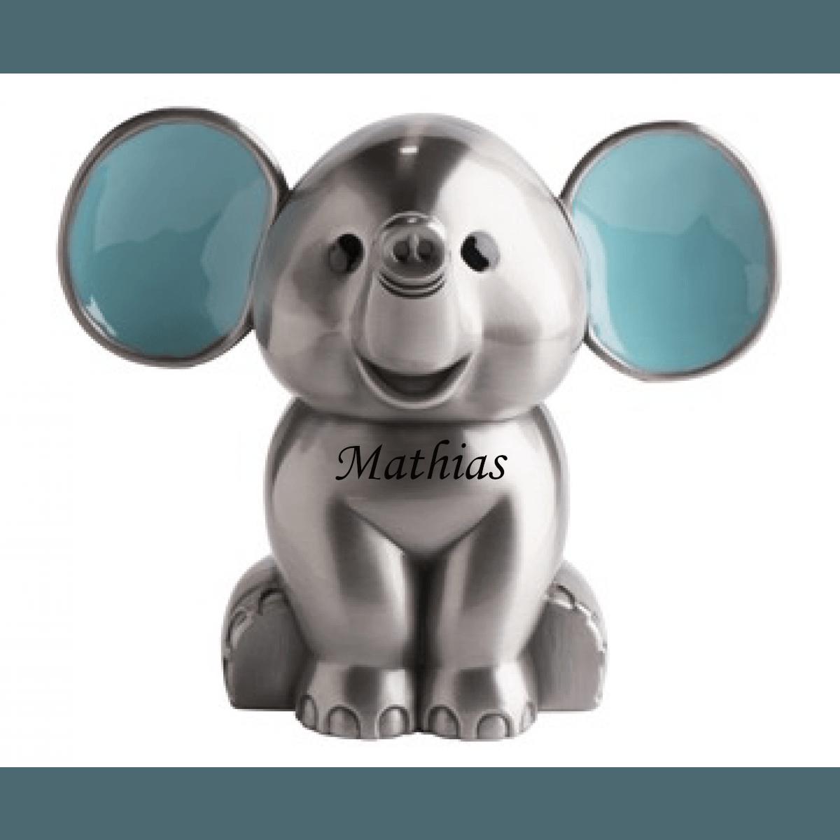 Sparebøsse Elefant blå fortinnet - Med navn