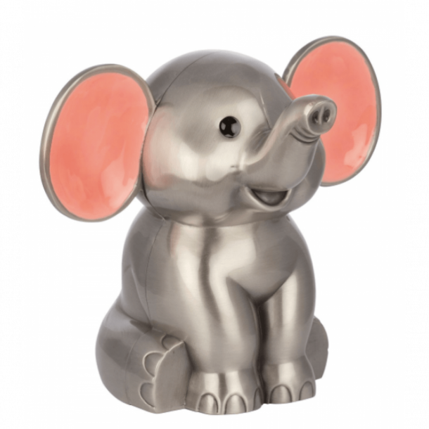 Sparebøsse Elefant pink fortinnet - Med navn